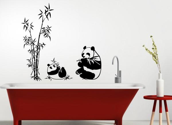 Wandtattoo 2 Pandabären und Schilf W5162