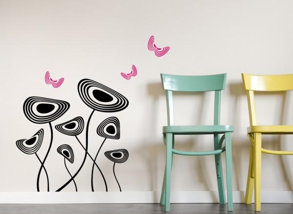 Wandtattoo Retroblumen mit Schmetterlingen W647