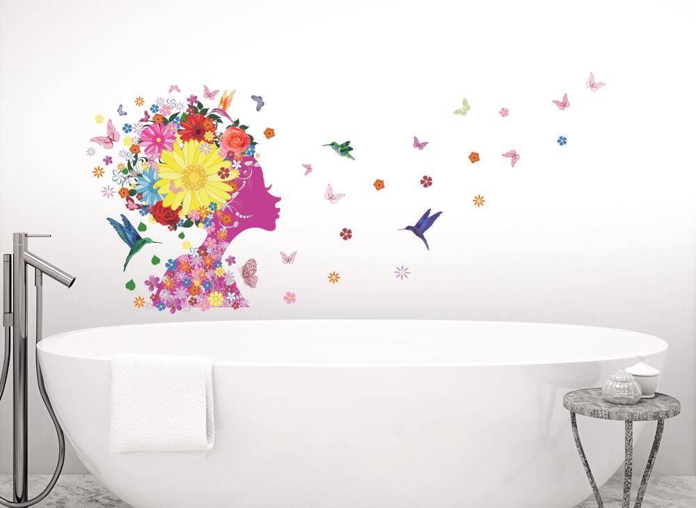 wandtattoo m dchen blumenkopf mit v geln und schmetterlingen w5182 m dchen kinderzimmer. Black Bedroom Furniture Sets. Home Design Ideas