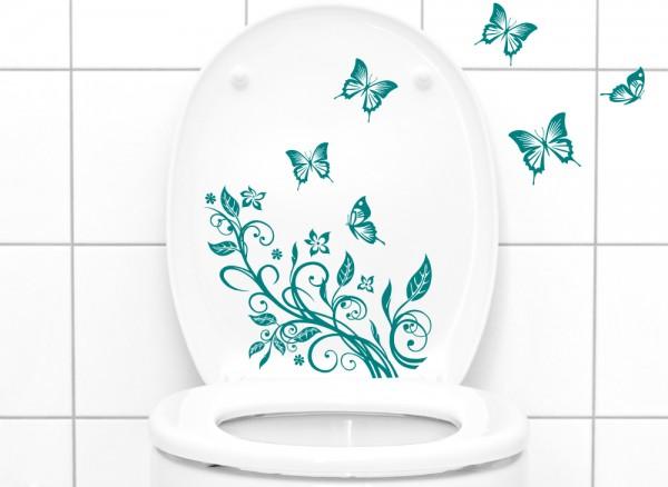 Wandtattoo WC Aufkleber Blumenranke mit Schmetterlingen W736