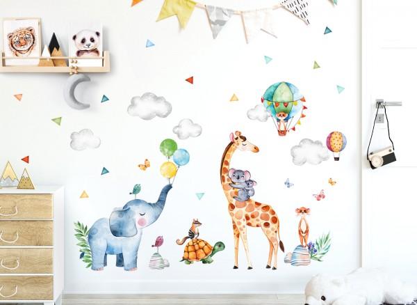 Little Deco Wandtattoo Tiere Party & Heißluftballons DL642