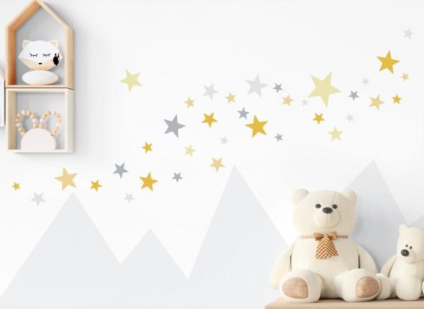 Little Deco Wandtattoo 60 Sterne gelb grau DL397
