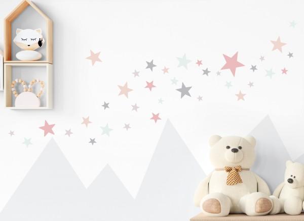 Little Deco Wandtattoo 60 Sterne mint rosa grau DL401