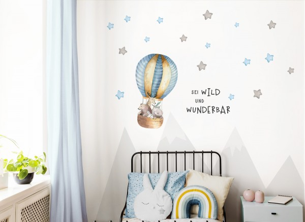 Little Deco Wandtattoo Sei wild & Tiere im Heißluftballon DL319
