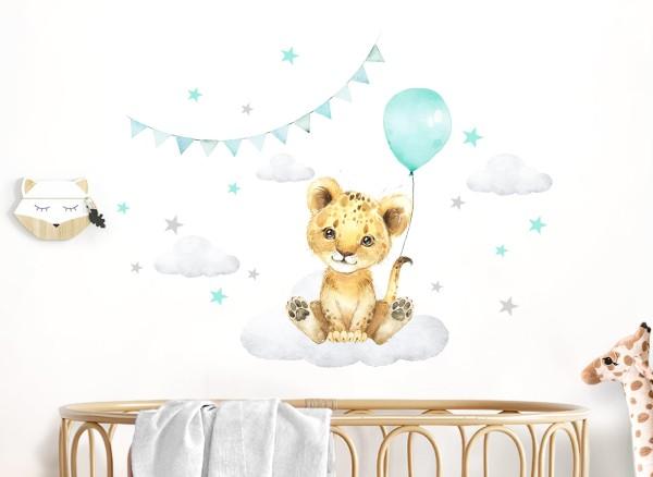 Little Deco Wandtattoo Löwe mit Luftballon mint & Sterne DL685