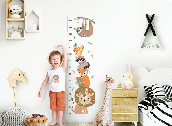 Little Deco Wandtattoo Messlatte 150cm Löwe Waschbär Safari DL351
