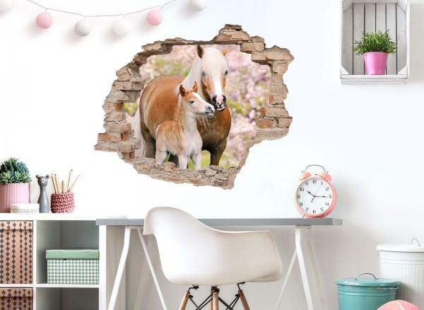 Little Deco Wandtattoo 3D Loch Effekt mit Pferden DL631