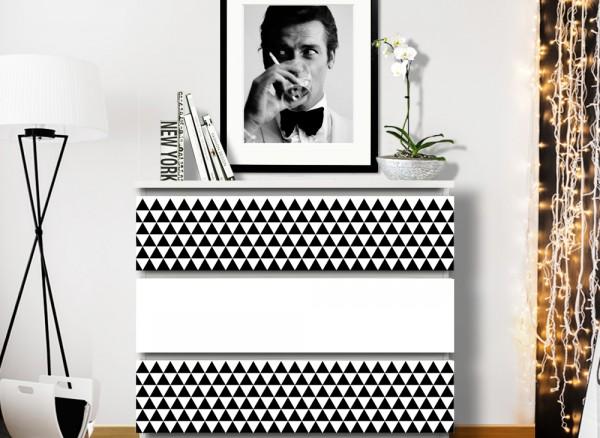 Wandtattoo Karos Stil 3 passend für IKEA HEMNES und MALM Kommode W5256