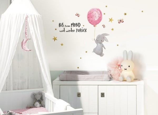 Little Deco Wandtattoo Hase mit Luftballon Rosa... DL239
