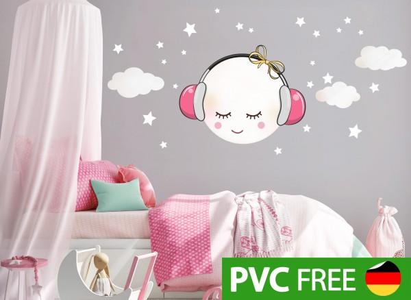 Little Deco Öko Wandtattoo Mond mit Kopfhörer und Wolken Weiß / Rosa DL290