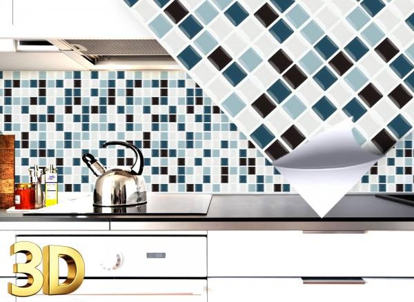 4x 3D Fliesenaufkleber 25,3 x 25,3 cm blau schwarz weiß W5415