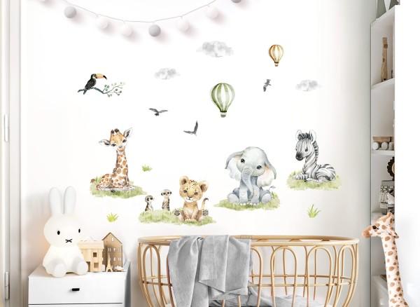 Little Deco Wandtattoo Safari Tiere & Heißluftballons DL695