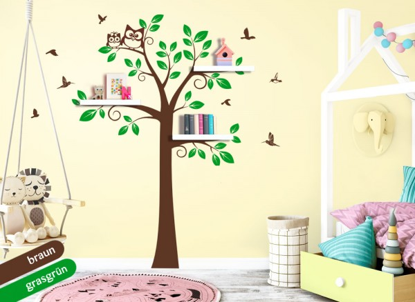 Wandtattoo 2-farbiger Baum mit Eulen + Vögeln braun / grasgrün W5388
