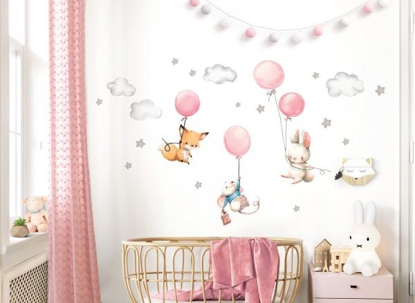 Little Deco Wandtattoo Fuchs Maus und Hase mit Luftballon DL609