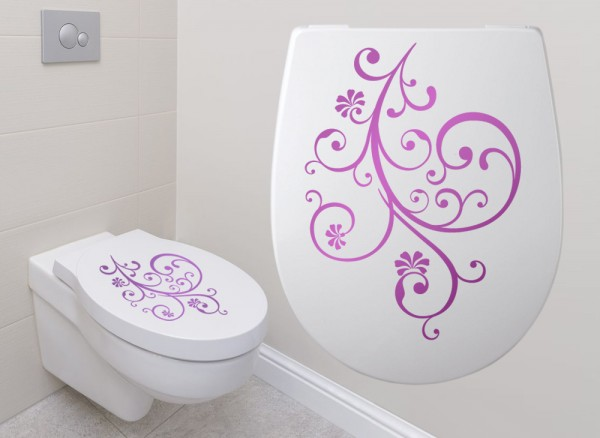 Wandtattoo WC Aufkleber Blumenranke W891