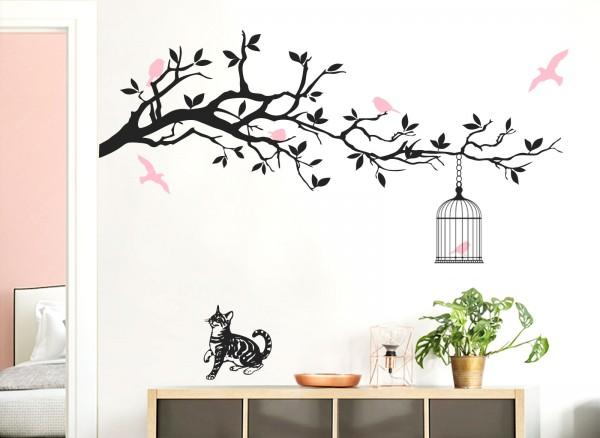 Wandtattoo Ast mit Vogelkäfig, Vögeln und Katze 2-farbig W5071