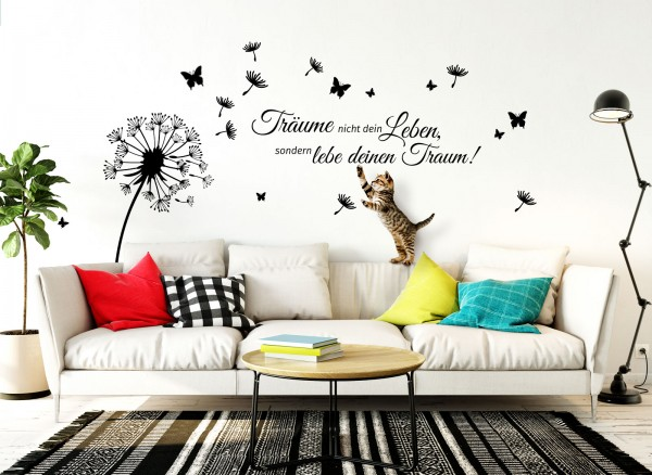 """Wandtattoo Pusteblume + Schmetterlinge + Zitat """"Träume nicht dein Leben, sondern lebe deinen Traum!"""""""