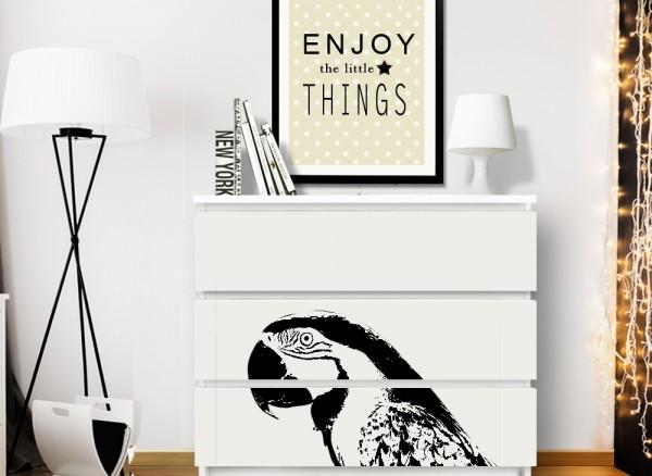 Wandtattoo Papagei passend für IKEA HEMNES und MALM Kommode W5250