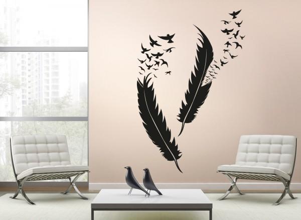 Wandtattoo Federn mit Vögel W5382