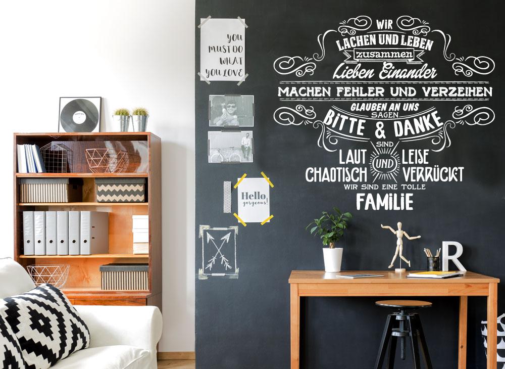 Wandtattoo spruch wir sind eine tolle familie w5496 spr che zitate wohnzimmer - Wohnzimmer spruche ...