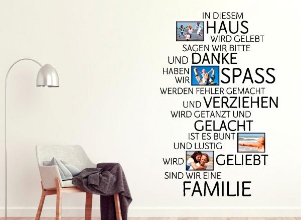 Wandtattoo Spruch In diesem Haus wird... + Bilderrahmen W5076