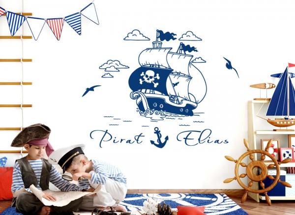 Wandtattoo Piratenschiff auf hoher See + Wunschname W5505