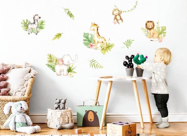 Little Deco Wandtattoo Dschungeltiere mit Blätter & Blumen DL452