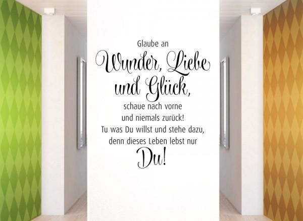 Wandtattoo Spruch Wunder, Liebe, Glück und Du W995