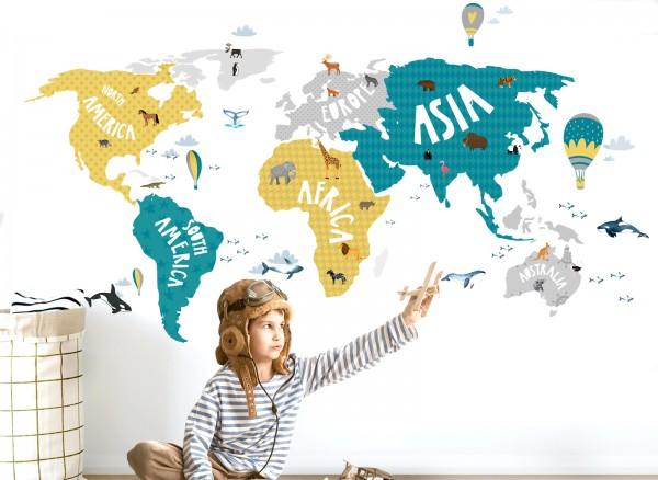Little Deco Wandtattoo Weltkarte mit Tieren grau türkis gelb DL128