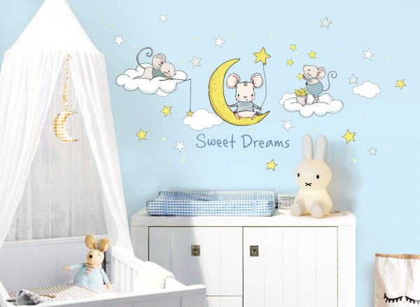 Little Deco Wandtattoo Sweet Dreams Maus auf Mond DL300