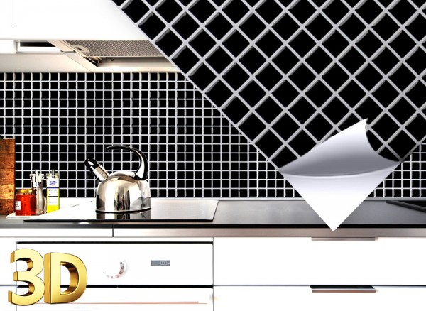 4x 3D Fliesenaufkleber 25,3 x 25,3 cm W5201 schwarz