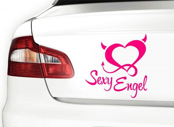Autoaufkleber Sexy Engel + Teufelsherz X7097