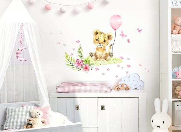 Little Deco Wandtattoo Löwe Blumen & rosa Luftballon DL693