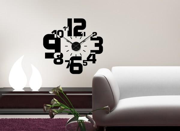 Wandtattoo Uhr stylischer Zahlenmix W3020