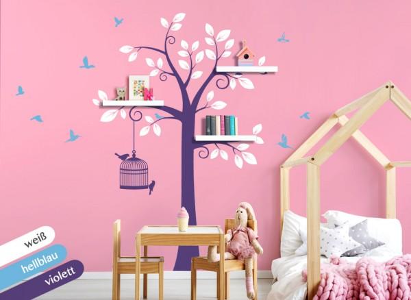 Wandtattoo 3 Farbiger Baum Mit Vogeln Weiss Hellblau Violett