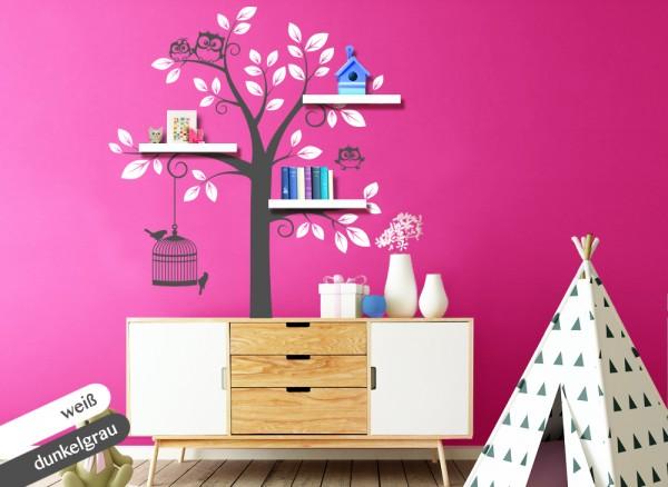 Wandtattoo 2-farbiger Baum mit Eulen + Vögeln weiß / dunkelgrau W1343