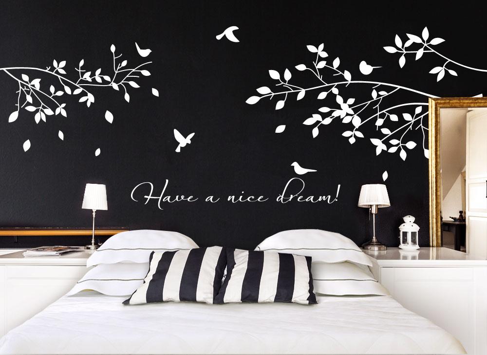 wandtattoo ste mit v geln zitat w775 b ume ste schlafzimmer wandtattoos nach zimmer. Black Bedroom Furniture Sets. Home Design Ideas