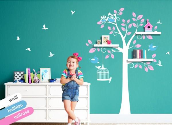 Wandtattoo 3-farbiger Baum mit Vögeln & Eulen weiß / hellblau / hellrosa W1333