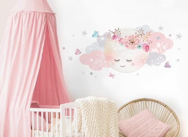 Little Deco Wandtattoo Wolken & Mond Weiß / Rosa DL240