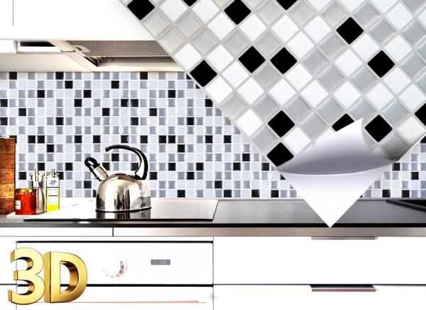 4x 3D Fliesenaufkleber 25,3 x 25,3 cm W5199 schwarz weiß silber