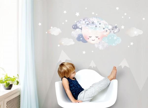 Little Deco Wandtattoo Wolken & Mond Weiß / Hellblau DL445