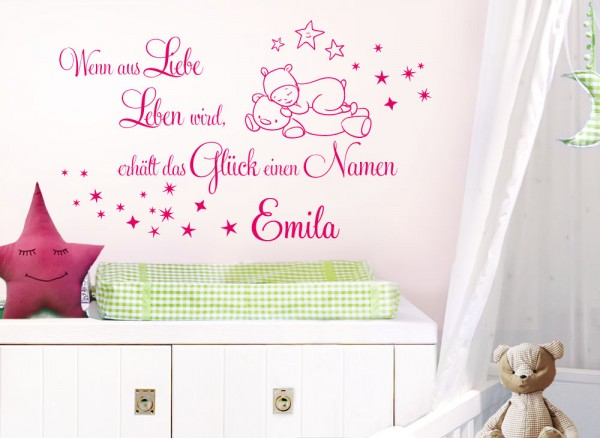 Wandtattoo Spruch Wenn aus Liebe Leben wird.. + Wunschname W5471 ...