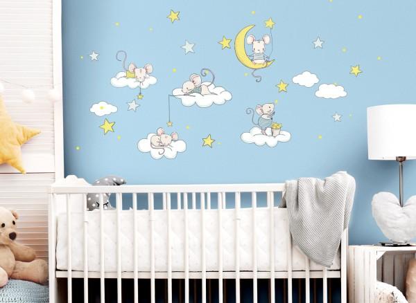 Little Deco Wandtattoo Mäuse auf Wolken und Sterne DL299