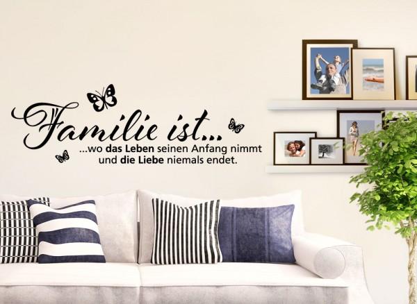 Wandtattoo Spruch Familie ist... wo das Leben seinen Anfang nimmt... W970