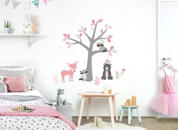 Little Deco Wandtattoo Waldbewohner & Baum DL520