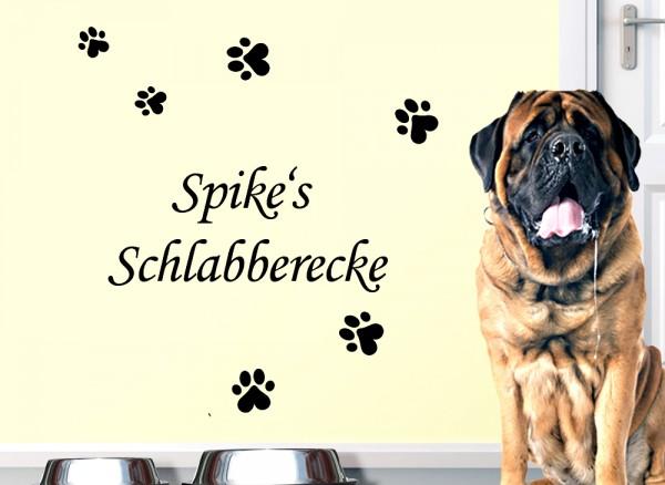 Wandtattoo Schlabberecke + Wunschname für Haustiere W5165