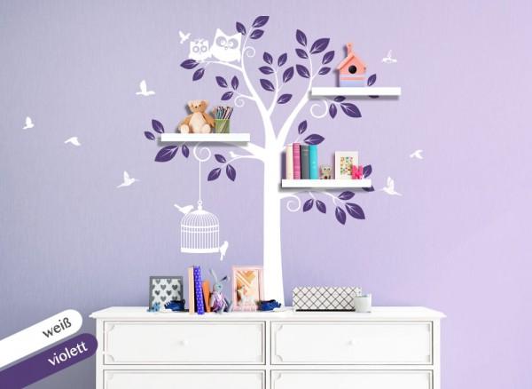 Wandtattoo 2-farbiger Baum mit Eulen + Vögeln weiß / violett W1332