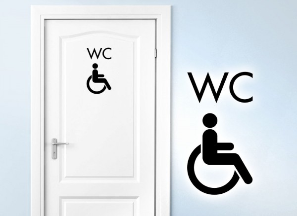 Wandtattoo Türaufkleber Behinderten WC W5395