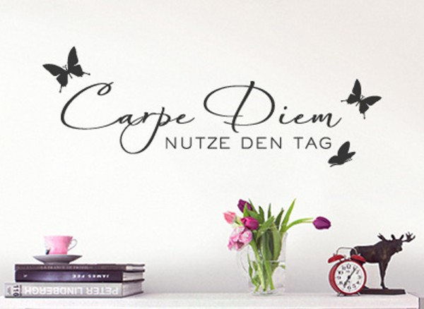 wandtattoo zitat carpe diem mit schmetterlingen w723 spr che zitate wohnzimmer. Black Bedroom Furniture Sets. Home Design Ideas