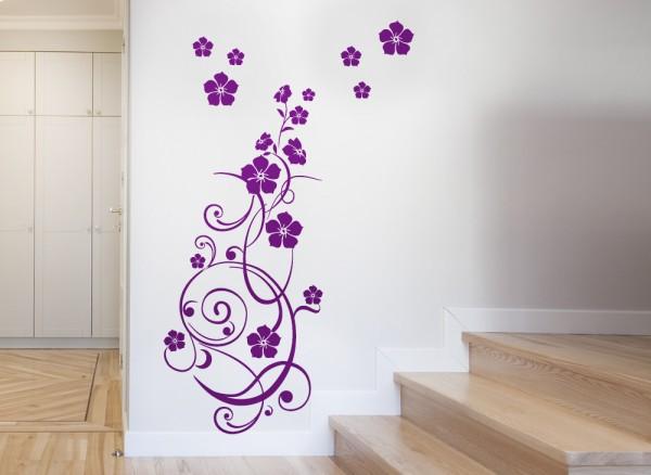 Wandtattoo Blumenranke mit vielen Blüten W825